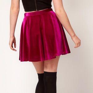 MINKPINK Fuschia Velvet Mini Skirt Small